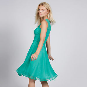 Silk Chiffon Dress With Sheer Panel In Turquoise Or Red