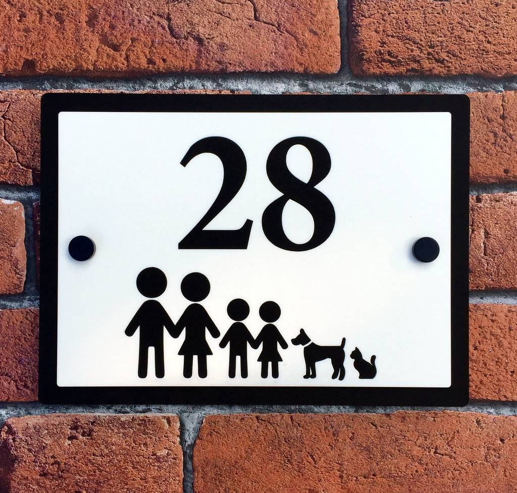 personalised stick family house number plaque by laser made designs