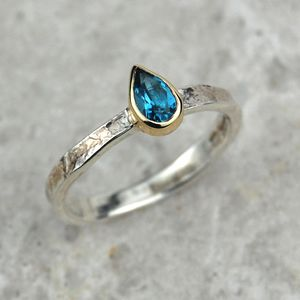 Solid Gold And Silver Blue Topaz Birthstone Alice Ring
