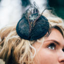 Petrol Black Feather Cocktail Hat