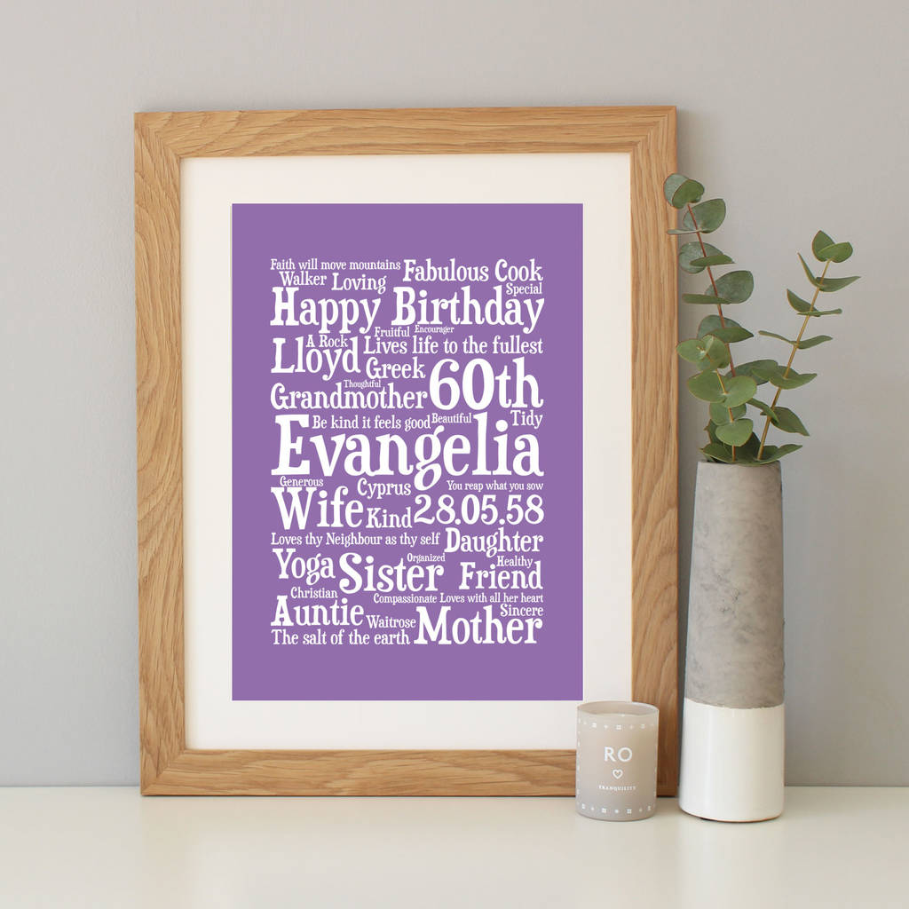 Personalised Birthday Word Art Gift By Hope And Love