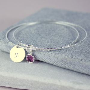 Child's Birthstone Bangle - christening jewellery