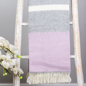 Grey And Lilac Wool Throw - blankets & throws