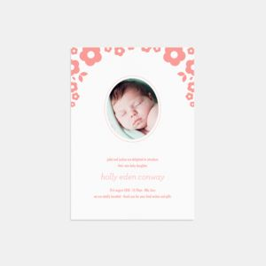 20 Petal Photo Birth Announcement Thank You Cards