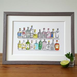 Colourful Gin Bottles Limited Edition Print - still life