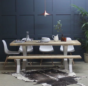 King's Cross Reclaimed Wood Dining Table With X Frame - kitchen