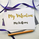 White with gold glitter personalised Valentine's card