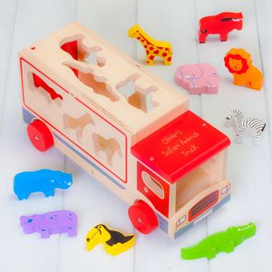 Personalised Red Safari Animal Shape Sorter Lorry - new in baby & child