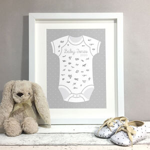 Baby Grow Personalised Baby Shower Guest Book Print