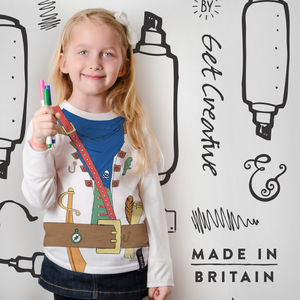 Colour In Pirate Top With Fabric Pens - girl's t-shirts