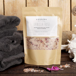 Natural Vanilla Rose Nourishing Bath Salt Blend - organic skincare