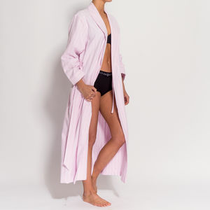 Women's Pink And White Striped Two Fold Flannel Robe