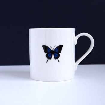 Limited run black and cobalt butterfly mug by TIME AND TOAST