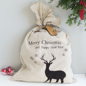 Personalised Christmas Sack With Reindeer - stockings & sacks