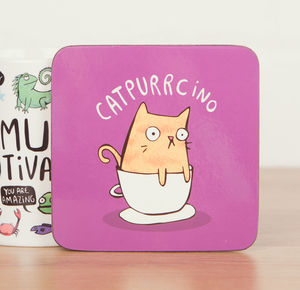 Catpurrcino Coaster - placemats & coasters