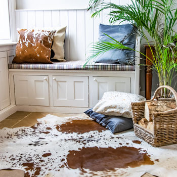 Speckled Brown And White Natural Cowhide Rug