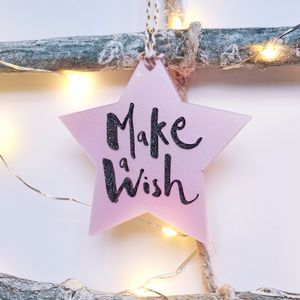 Contemporary Laser Cut Make A Wish Bauble Decoration