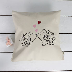 Kissing Hedgehogs Love Cushion - personalised cushions