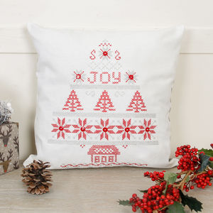 Festive Christmas Joy Hand Cross Stitched Cushion Cover - christmas home accessories