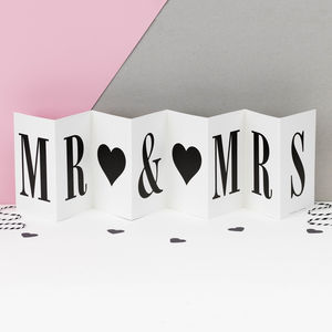 Personalised Engagement Card; Mr Mrs Concertina Card
