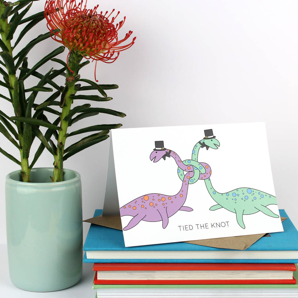 Tied The Knot Dinosaur Same Sex Wedding Card Gay By Charlotte