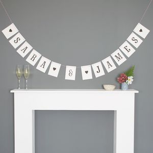 Personalised Wedding Bunting Fishtail Font - room decorations