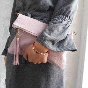 Suede Leather Clutch Bag - clutch bags