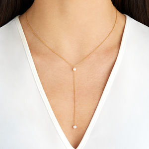 Delicate Silver Rose Or Gold Pearl Lariat Necklace - necklaces & pendants