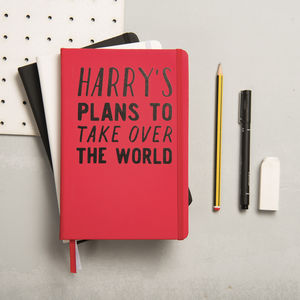 Personalised Plans To Take Over The World Notebook - gifts for teenage boys