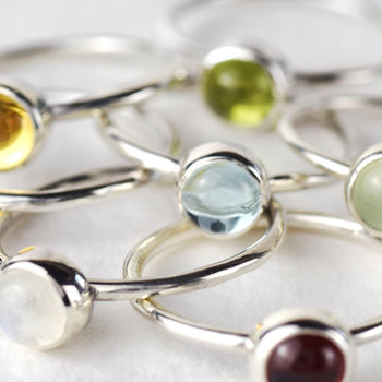 Vibrant Sterling Silver Gemstone Stacking Ring