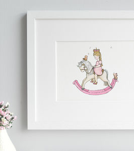 Personalised Rocking Horse Princess Nursery Print