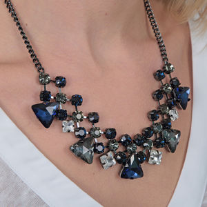 Blue And Smokey Grey Crystal Statement Necklace - necklaces & pendants