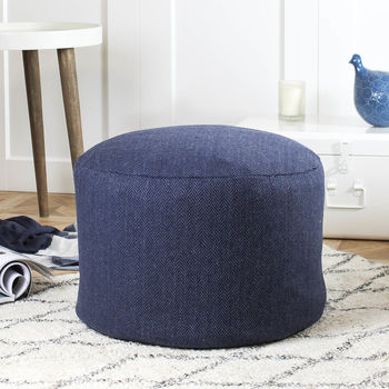 Navy Herringbone Wool Pouffe