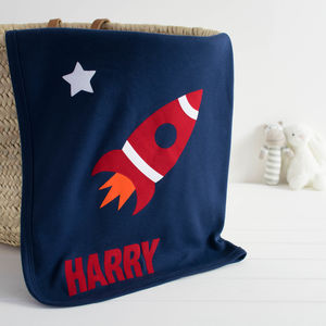 Personalised Space Rocket Baby Blanket