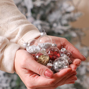 A Touch Of Sparkle Set Of Twelve Mini Confetti Baubles - baubles & hanging decorations