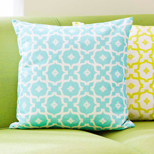 Moroccan Tile Print Cushion - living room