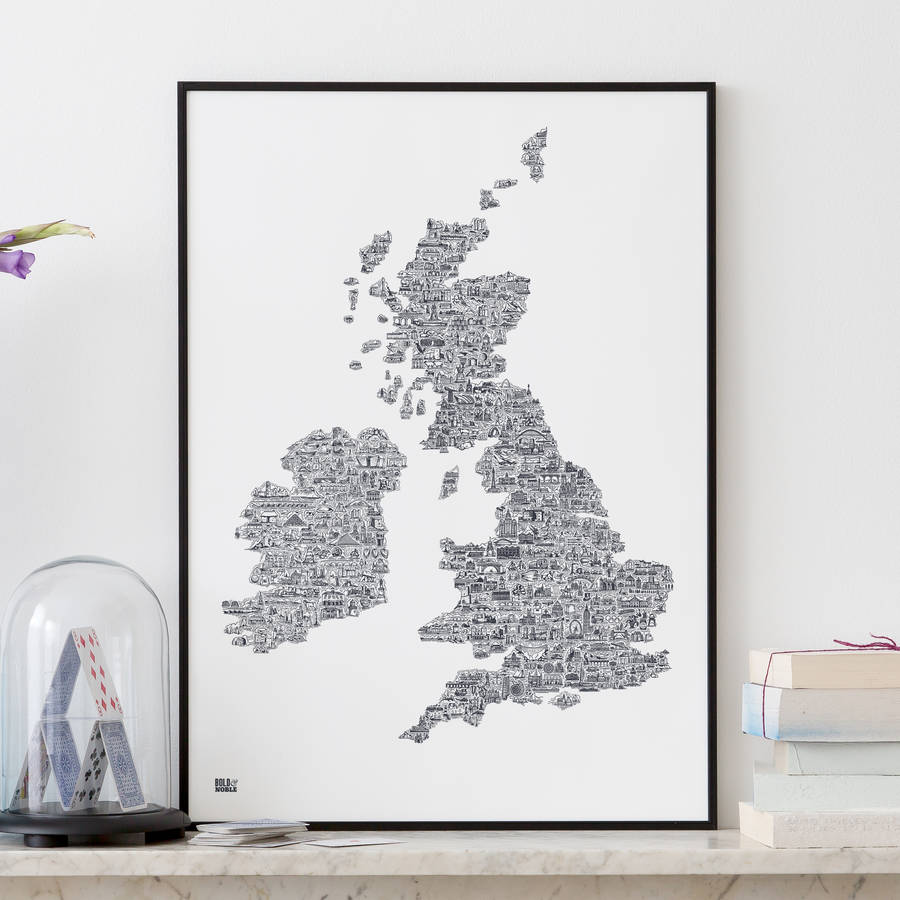 UK And Ireland Pictorial Illustrated Map
