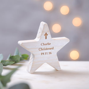 Personalised Christening Wooden Star With Cross - more