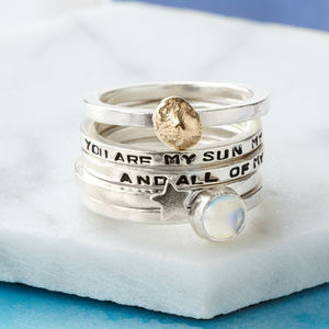 Personalised Sun, Moon And Star Stacking Ring Set