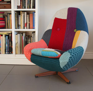 Vintage Swivel Armchair Reupholstered In Bespoke Knit - armchairs
