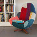 Vintage Swivel Armchair Reupholstered In Bespoke Knit