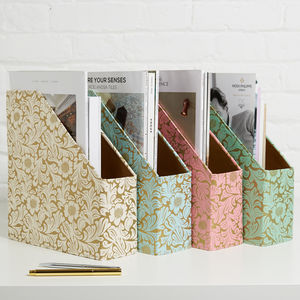 Recycled Gold Floral Magazine File - filing & storage