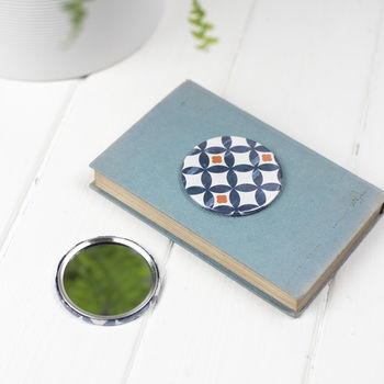 Safiya Handbag Mirror, Blue, Orange Geometric Pattern