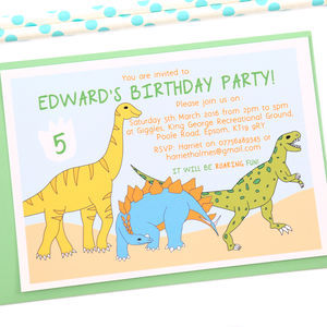 Dinosaurs Personalised Birthday Party Invitations - childrens party invitations
