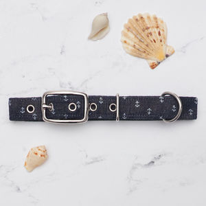 Blue Denim Anchors Dog Collar - dogs