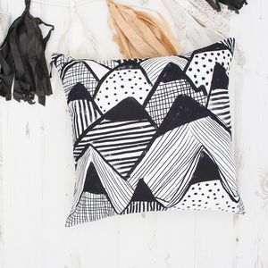 Monochrome Mountain Pattern Cushion - summer sale