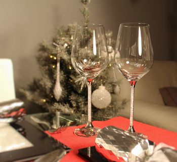 Pair Of Wine Glasses With Swarovski Crystals