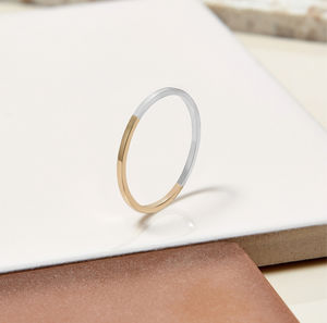 9ct Yellow Gold And Silver Ultra Skinny Stacking Ring - contemporary jewellery
