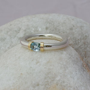 Aquamarine Tension Set Ring - birthstone jewellery gifts