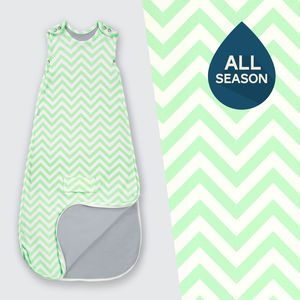 All Season Merino Baby Sleep Bag 'Mint Chevron'
